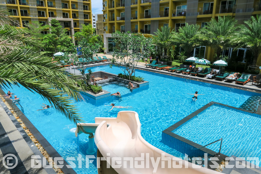 As well as a pool water slide in the Grand Bella Hotel