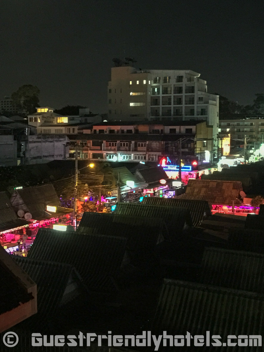 Bacony view at night of the beer bars of Soi 7 from my Tweet Tweet Nest Pattaya Hotel room