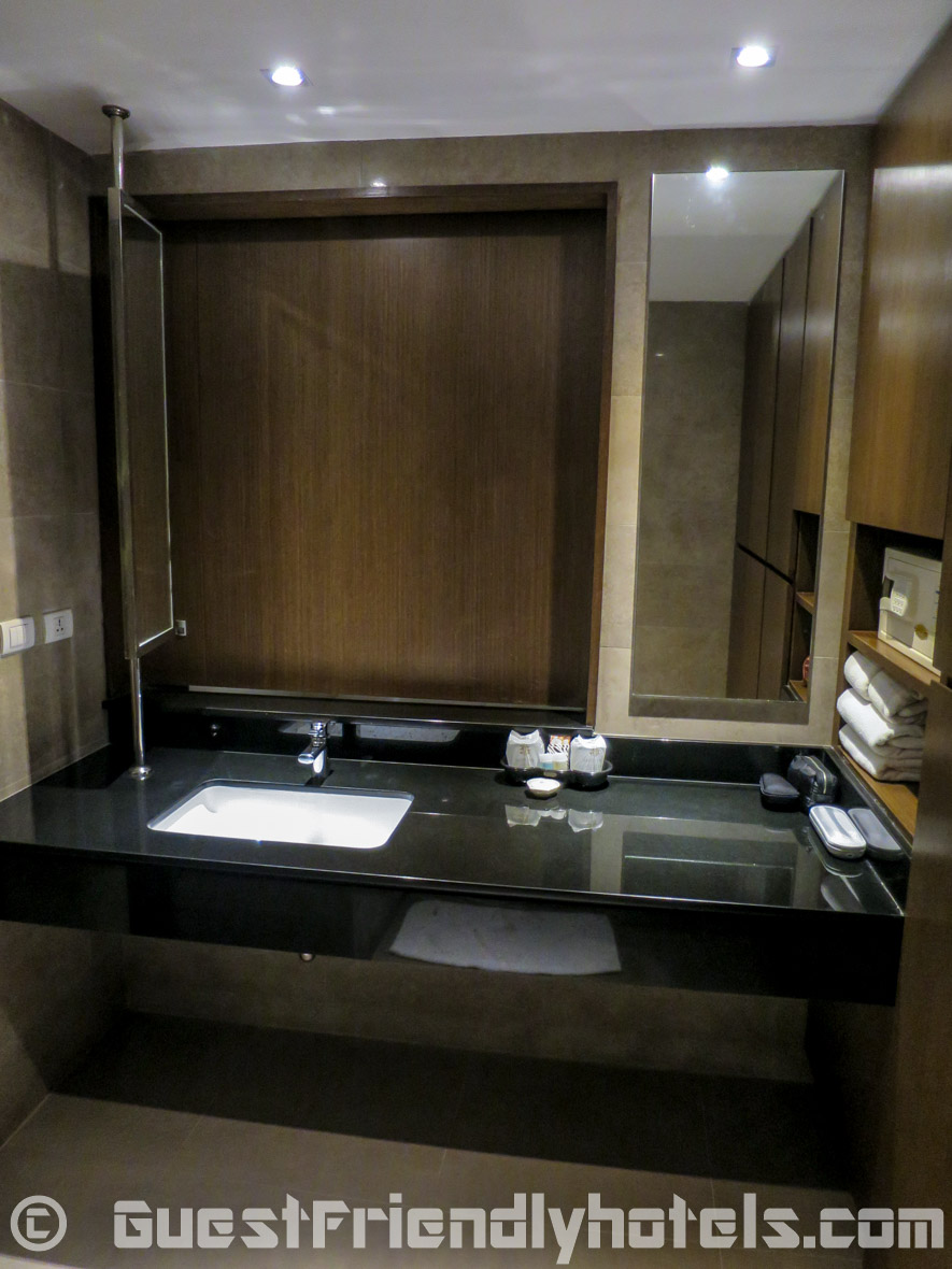Bathroom sink area inside my deluxe room at the Season Five Hotel_