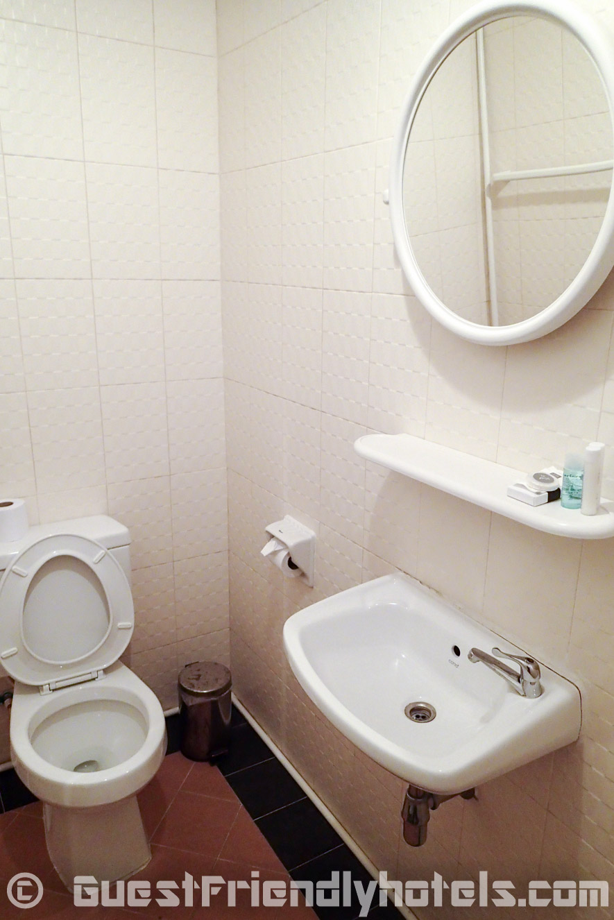 Bathroom toilet is quite basic with sink and mirror on one side at Apsara Residence
