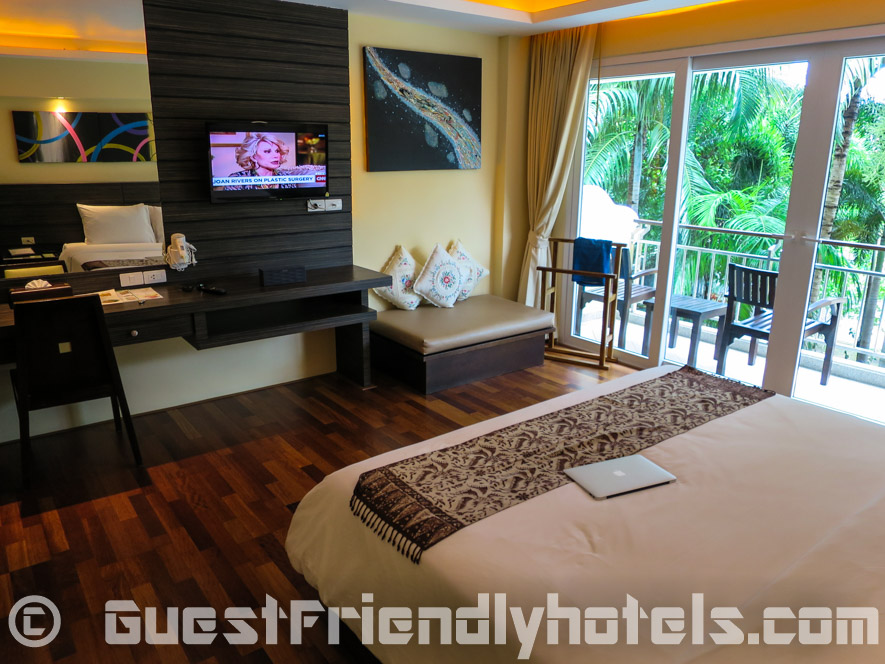 Deluxe room facilities seen from the bedside at R Mar Resort and Spa in Phuket