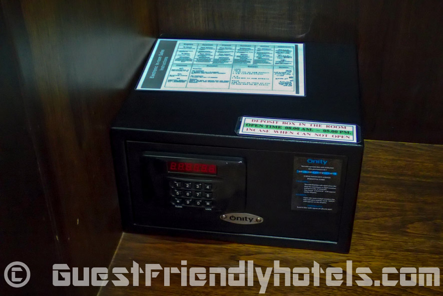 Electronic safe in the wardrobe of Sea Me Spring Hotels