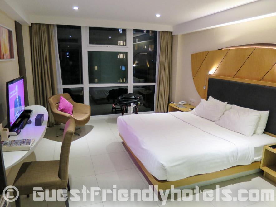 Entering my Iconic Room at night at Hotel Icon Bangkok