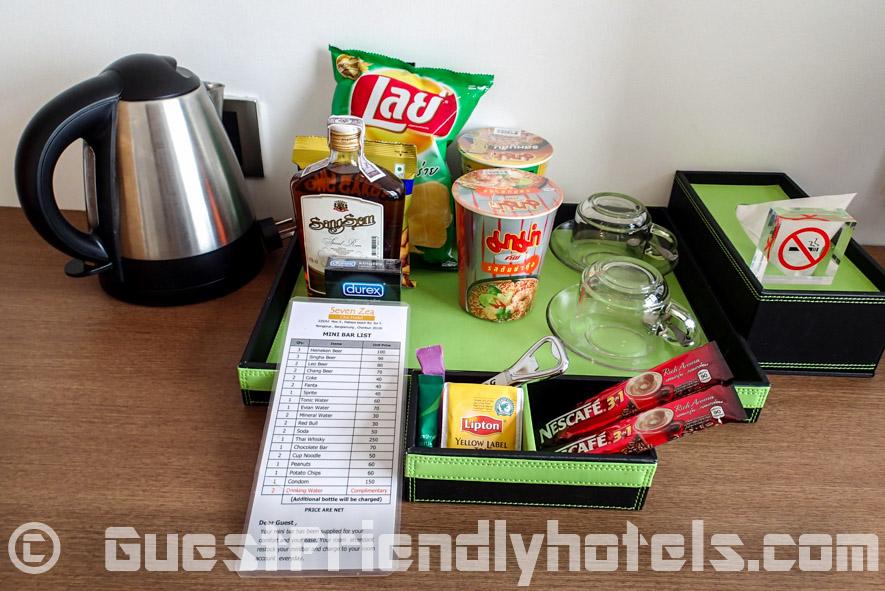 Free coffee and tea with mini-bar price list of items