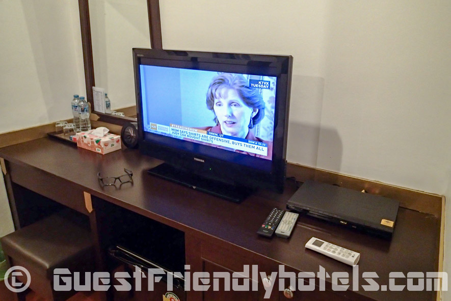 LCD TV comes with a DVD player if ever you wanted to watch a movies at the Apsara Residence
