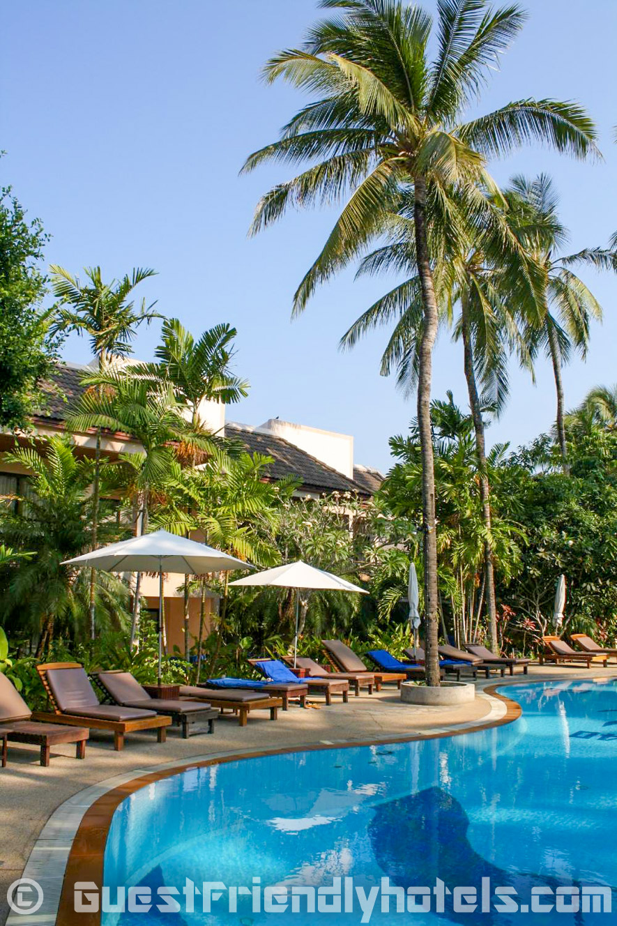 Plenty of sun Loungers all around the pool in Coconut Village Resort