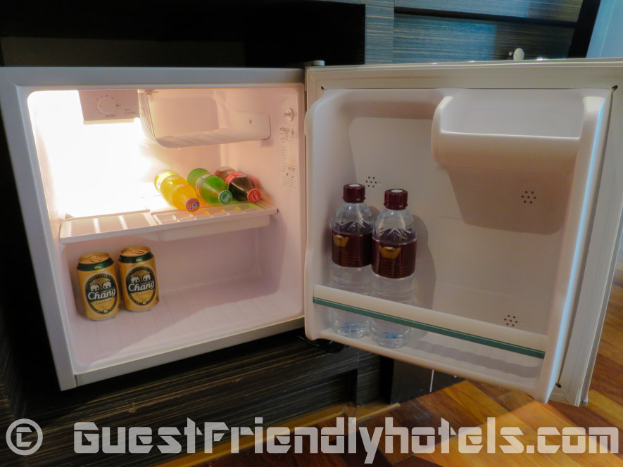 Mini-bar in deluxe room has a few complimentary free drinks for guests already inside at R Mar Resort and Spa