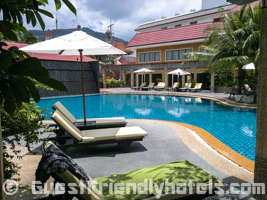No shortage of sun Loungers around the pool at R Mar Resort and Spa in Phuket