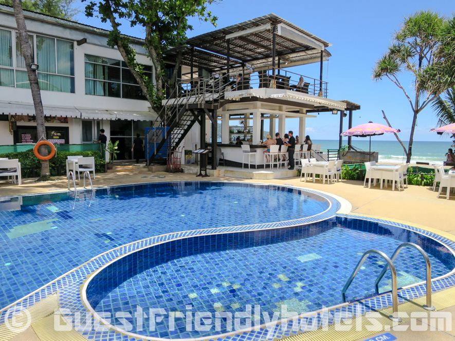 Pool area with beachfront bar at the Patong Bay Garden Resort