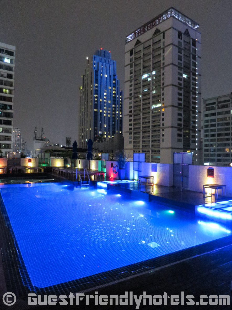 Pool on the roof with mood lights at Dream Hotel Bangkok