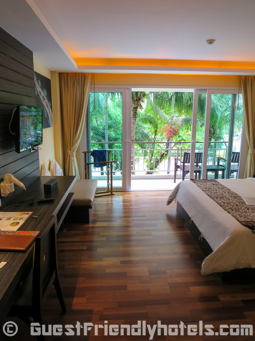 Room had a nice balcony to relax on overlooking the quiet property R Mar Resort and Spa Phuket