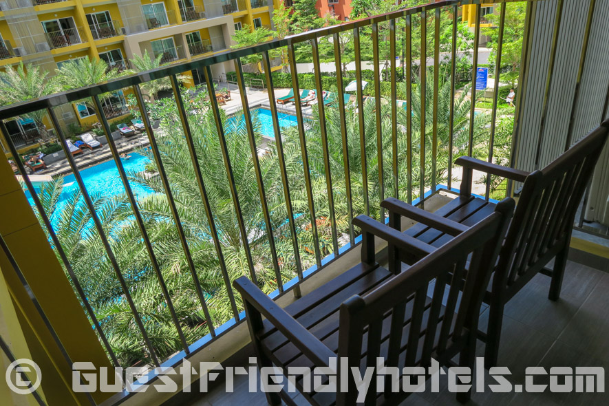 Space is limited on the balcony with only room for two chairs on Grand Bella Hotel