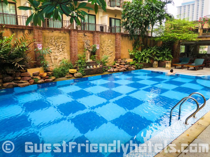 Swimming pool area in the Bella Villa Prima Hotel