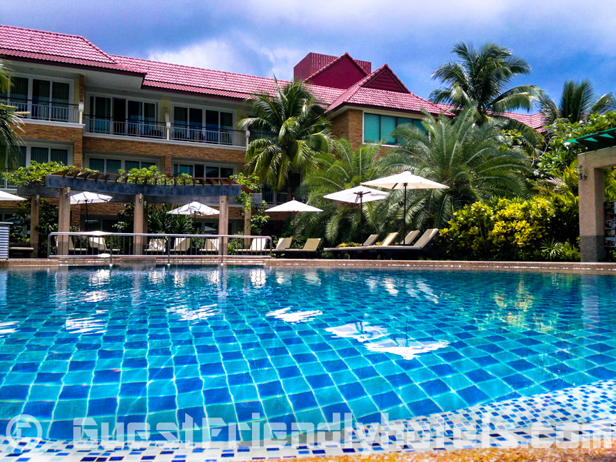 Swimming pool area is very relaxing with nice water features and a poolside bar
