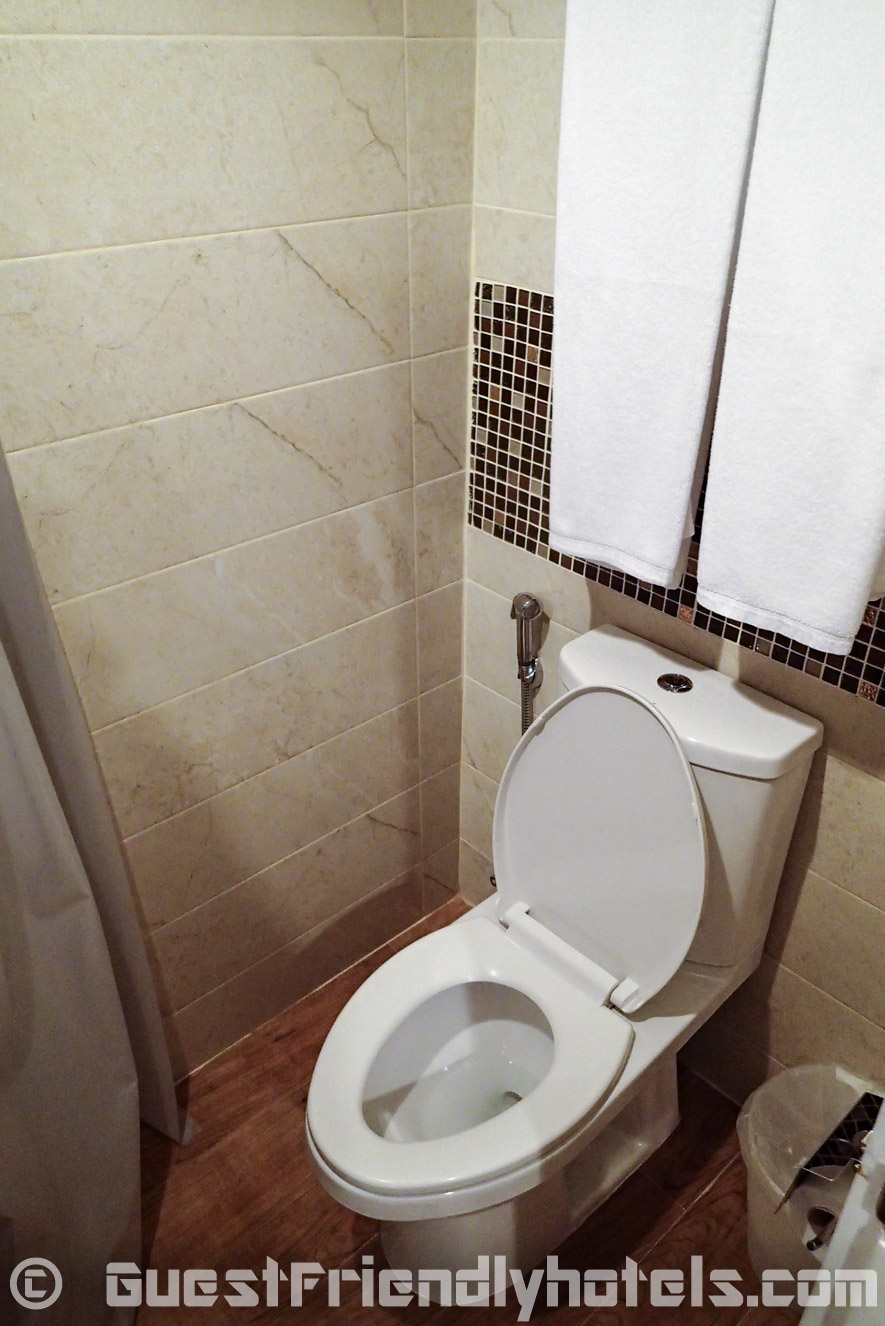 The bathroom toilet in the Flipper Lodge rooms