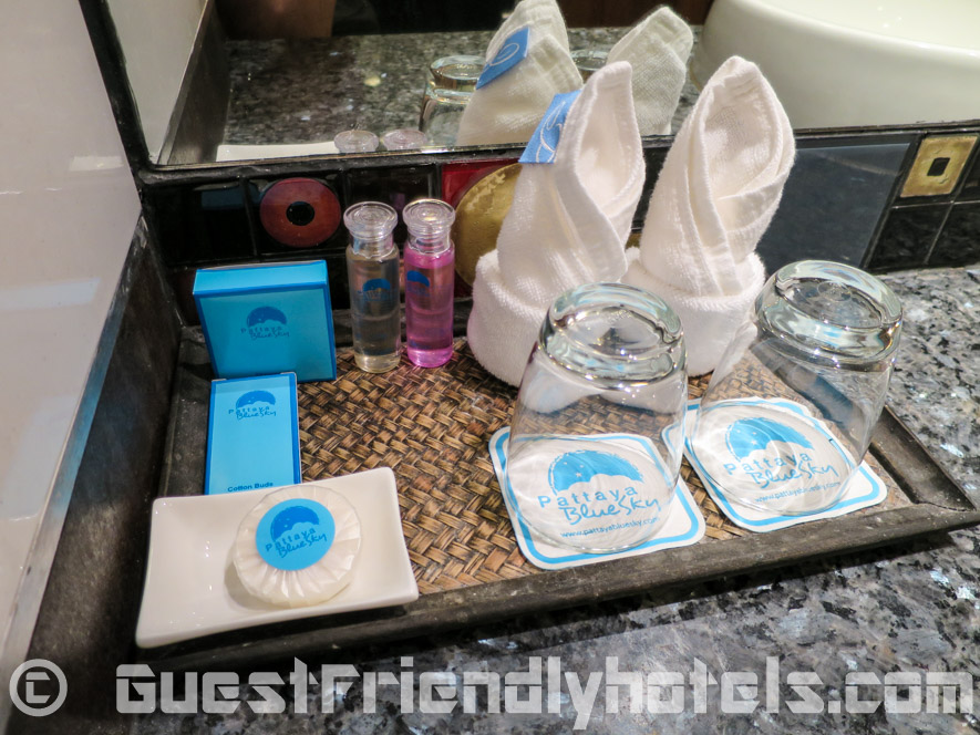 The essential bathroom toiletries are provided at the Pattaya Blue Sky Hotel