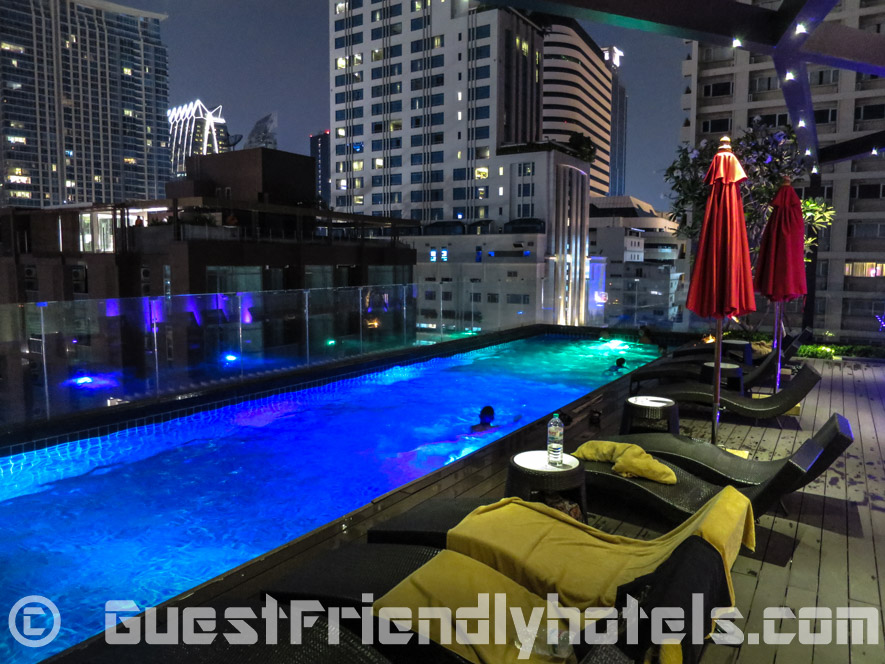 The pool at night is found on the 6th floor in Hotel Icon Bangkok