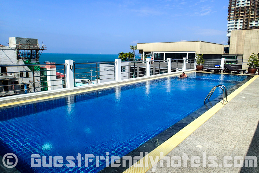 The rooftop pool is a great place to hangout on a sunny day and offers of surrounding Pattaya in Sea Me Spring Hotel