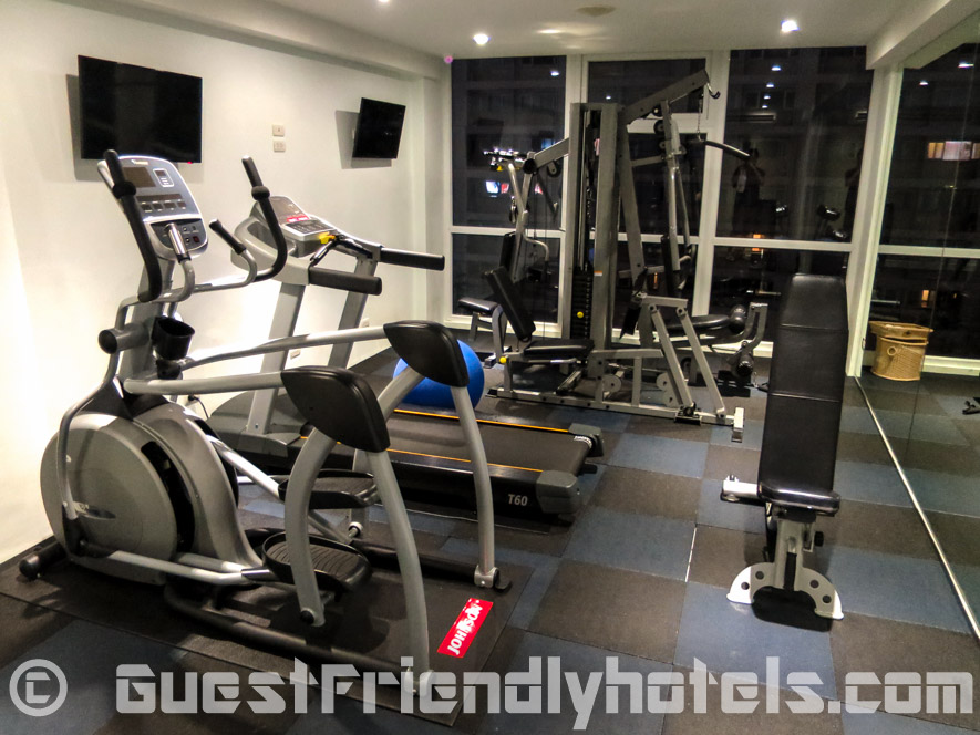 The small fitness room is on the 6th floor in Hotel Icon Bangkok