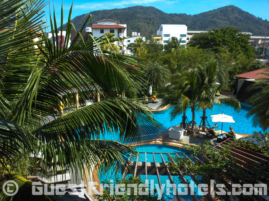 Very quiet location with a nice big pool just around the corner from Bangla Road inside the R Mar Resort and Spa