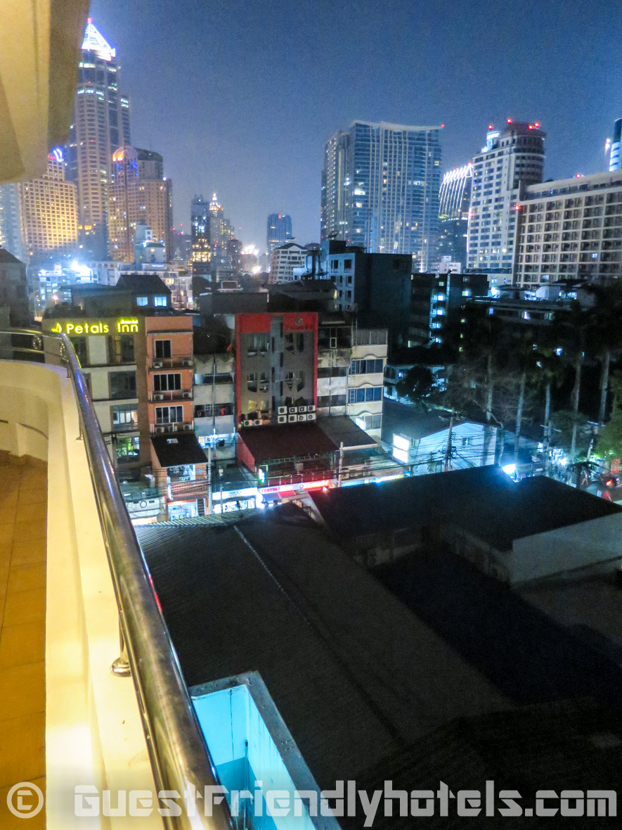 View at night from the balcony lookling onto soi 4 nana and the skyline in SM Grande Residence Bangkok