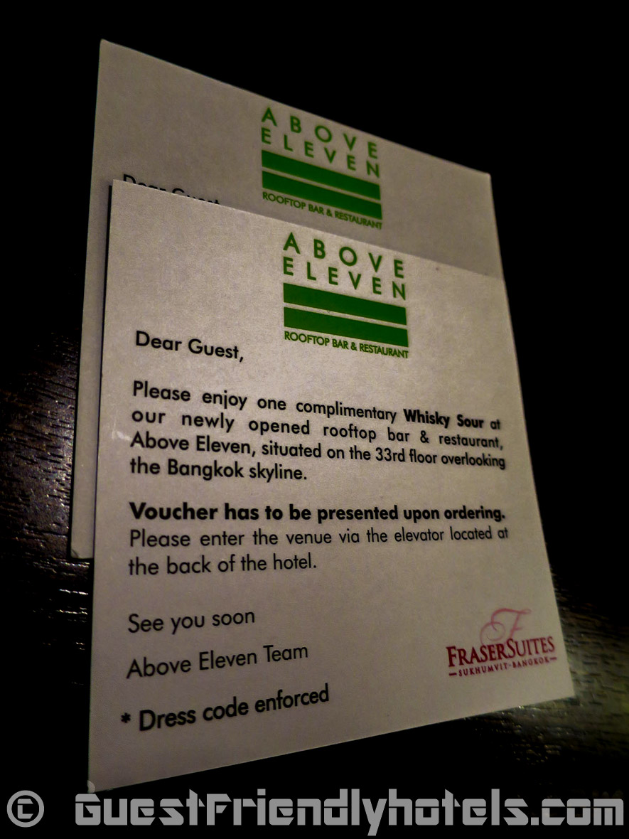 Vouchers forfree drinks at Above 11 rooftop bar and restaurant in Fraser Suites
