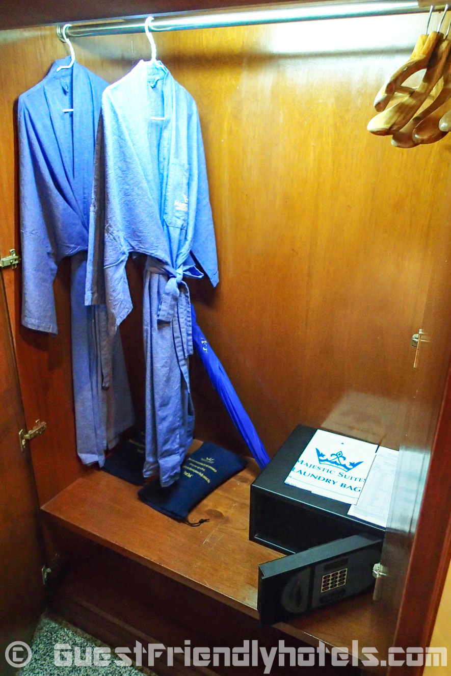 Wardrobe has a small small safe inside at Majestic Suite Hotel