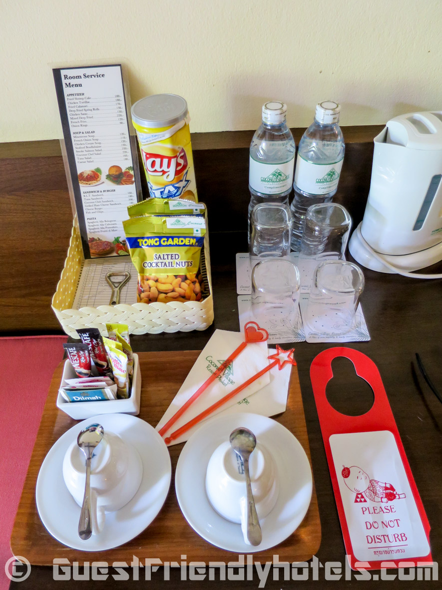 coffee & tea making facilities and the usual 2 free bottle of water each day in the Coconut Village Resort