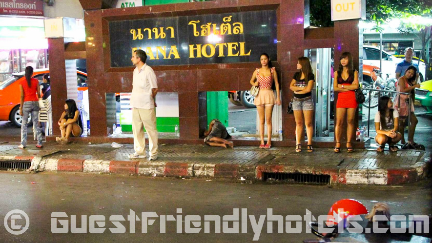 Girls in front of Nana Hotel Bangkok