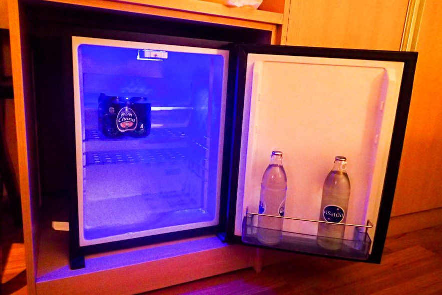 small room fridge in most basic room category of Petals Inn hotel on Soi Nana